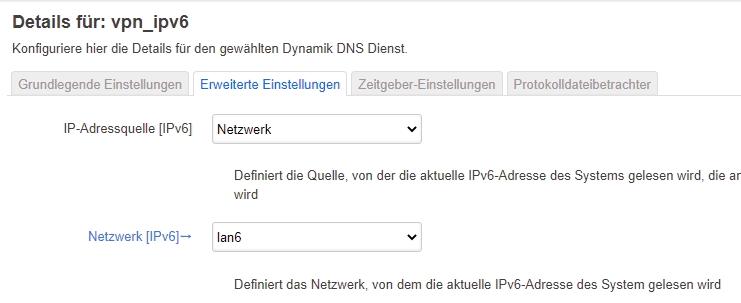 IPv6-DynDNS Erweiterte Einstellungen