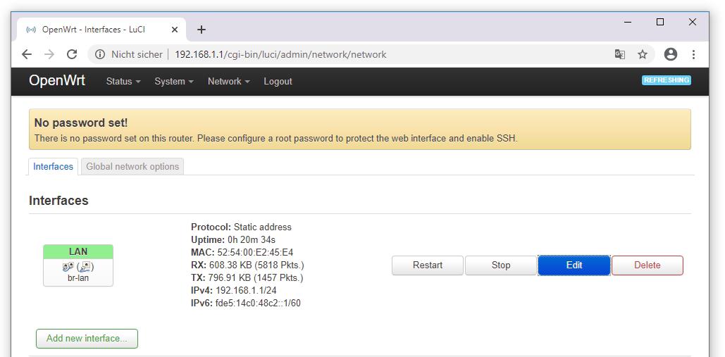 Screenshot, OpenWRT br-lan Interface editieren