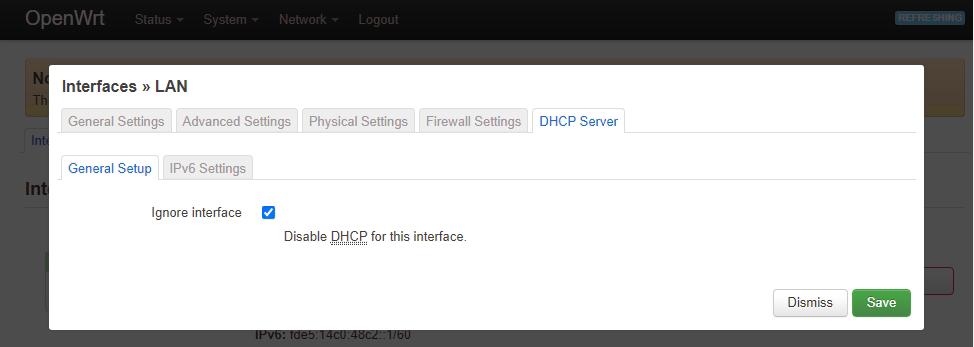 DHCP Server - General setup
