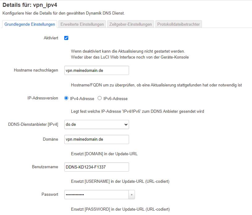 IPv4-DynDNS Konfiguration