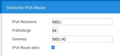 Statische IPv6-Route