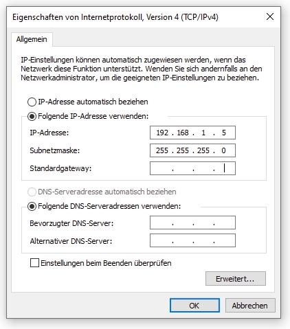 Einstellungsdialog auf Windows 10