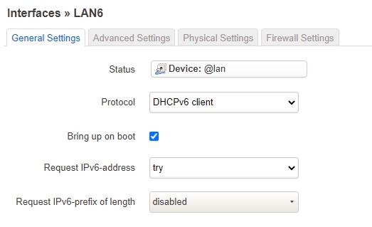 LAN6 Interface Konfiguration
