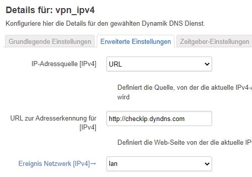 IPv4-DynDNS Erweiterte Einstellungen
