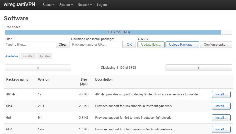 OpenWRT Paketmanager
