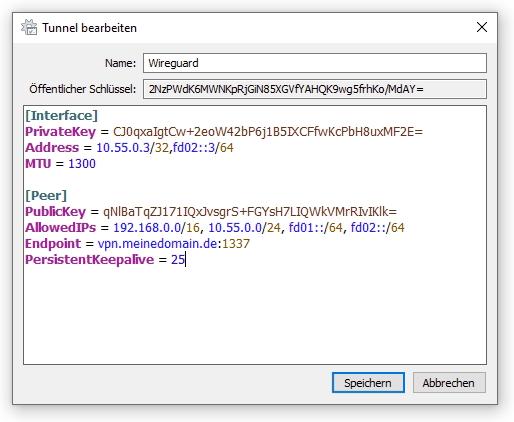 Fertige VPN-Konfiguration